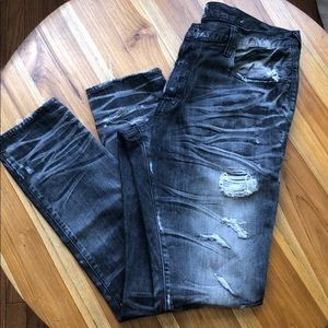 PRPS Black Stonewashed Distressed Jeans 38x32